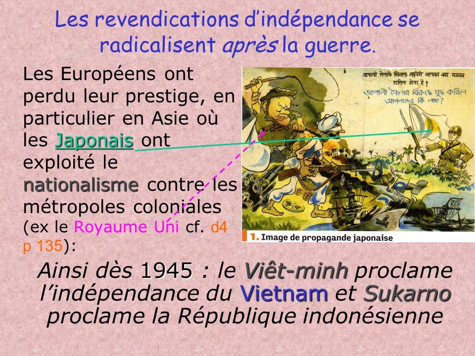 A. Les origines de la décolonisation 1) Le choc de la 2nde Guerre Mondiale Les colonies participent à leffort de guerre ; elles en attendent une contr