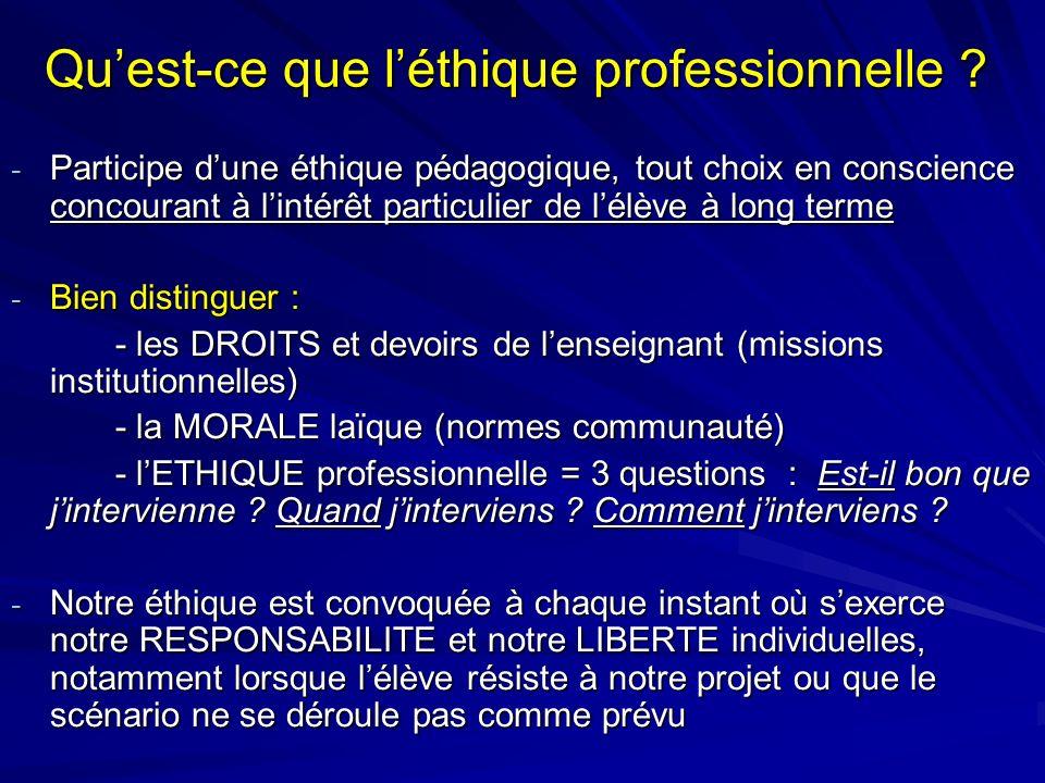 Quest-ce que léthique professionnelle ? - Participe dune éthique pédagogique, tout choix en conscience concourant à lintérêt particulier de lélève à l