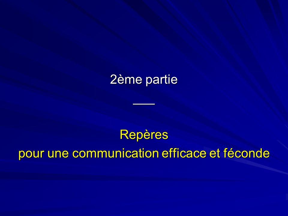 2ème partie ___Repères pour une communication efficace et féconde