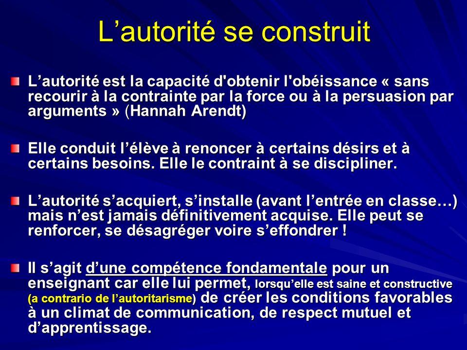 Lautorité se construit Lautorité est la capacité d'obtenir l'obéissance « sans recourir à la contrainte par la force ou à la persuasion par arguments