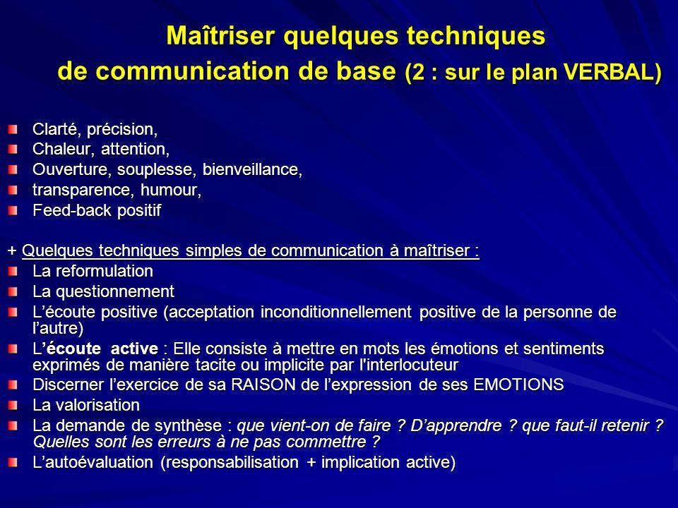 Maîtriser quelques techniques de communication de base (2 : sur le plan VERBAL) Clarté, précision, Chaleur, attention, Ouverture, souplesse, bienveill
