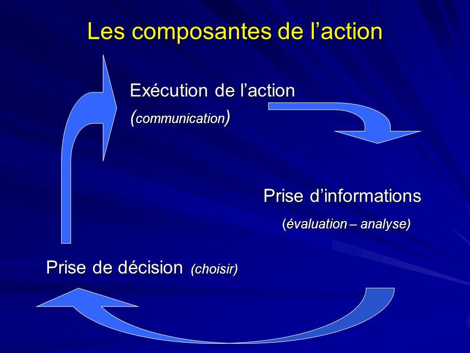 Les composantes de laction Exécution de laction Exécution de laction ( communication ) ( communication ) Prise dinformations (évaluation – analyse) (é