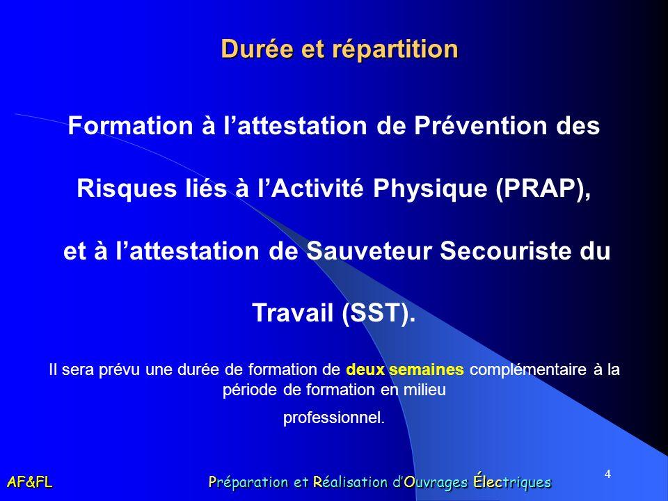 4 Durée et répartition Formation à lattestation de Prévention des Risques liés à lActivité Physique (PRAP), et à lattestation de Sauveteur Secouriste du Travail (SST).
