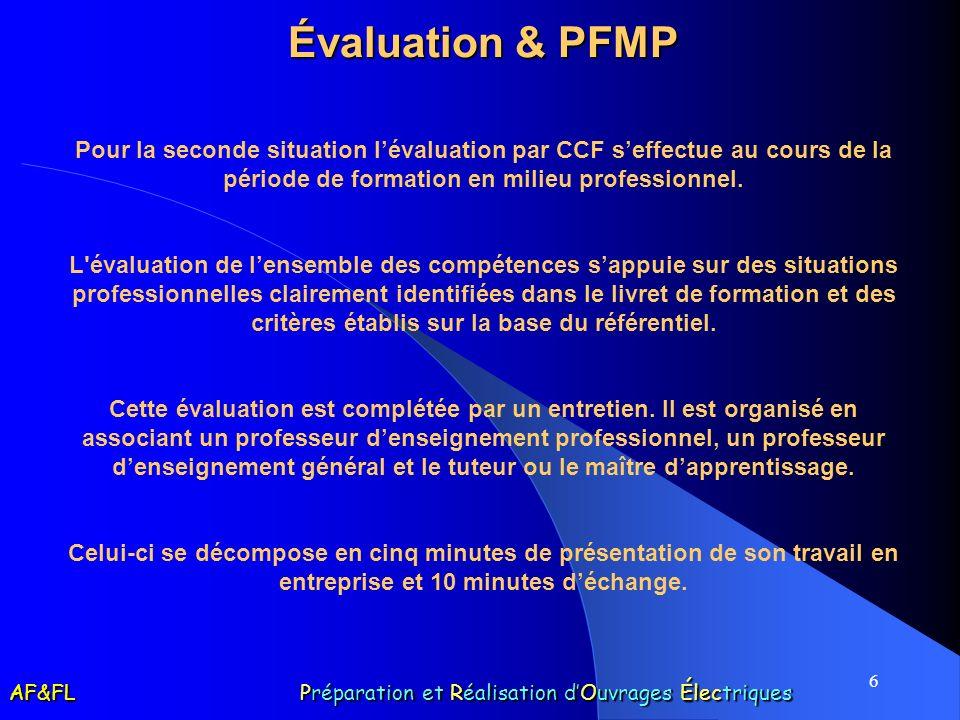 6 Évaluation & PFMP Pour la seconde situation lévaluation par CCF seffectue au cours de la période de formation en milieu professionnel.