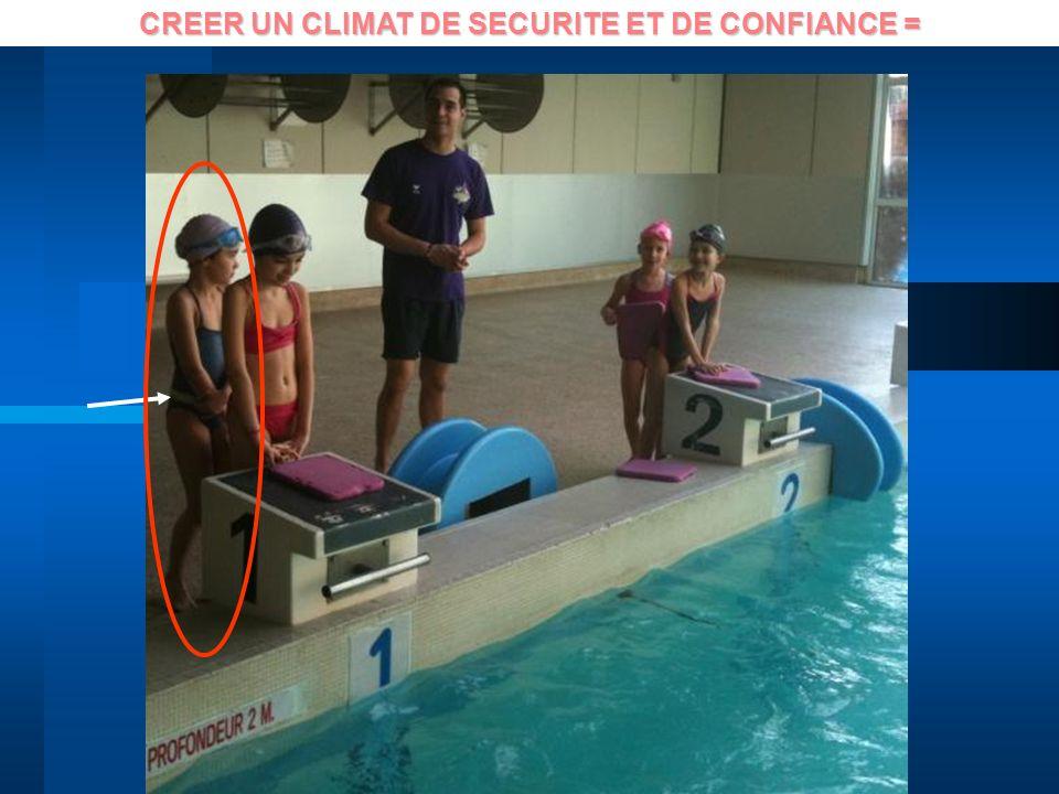 CREER UN CLIMAT DE SECURITE ET DE CONFIANCE =