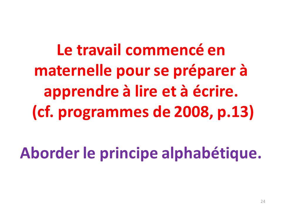 Le travail commencé en maternelle pour se préparer à apprendre à lire et à écrire. (cf. programmes de 2008, p.13) Aborder le principe alphabétique. 24