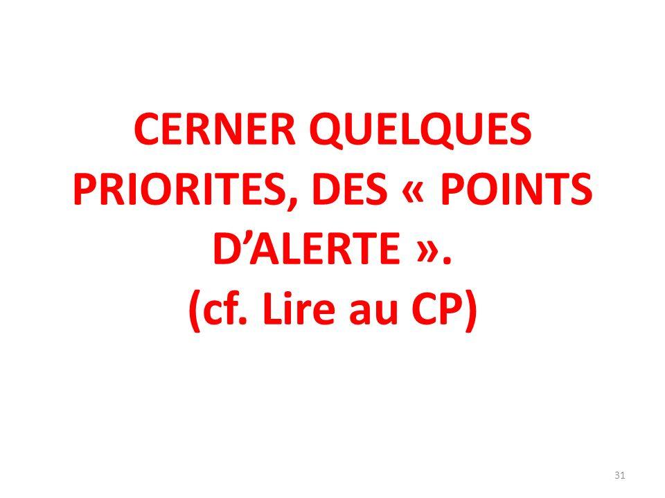 CERNER QUELQUES PRIORITES, DES « POINTS DALERTE ». (cf. Lire au CP) 31