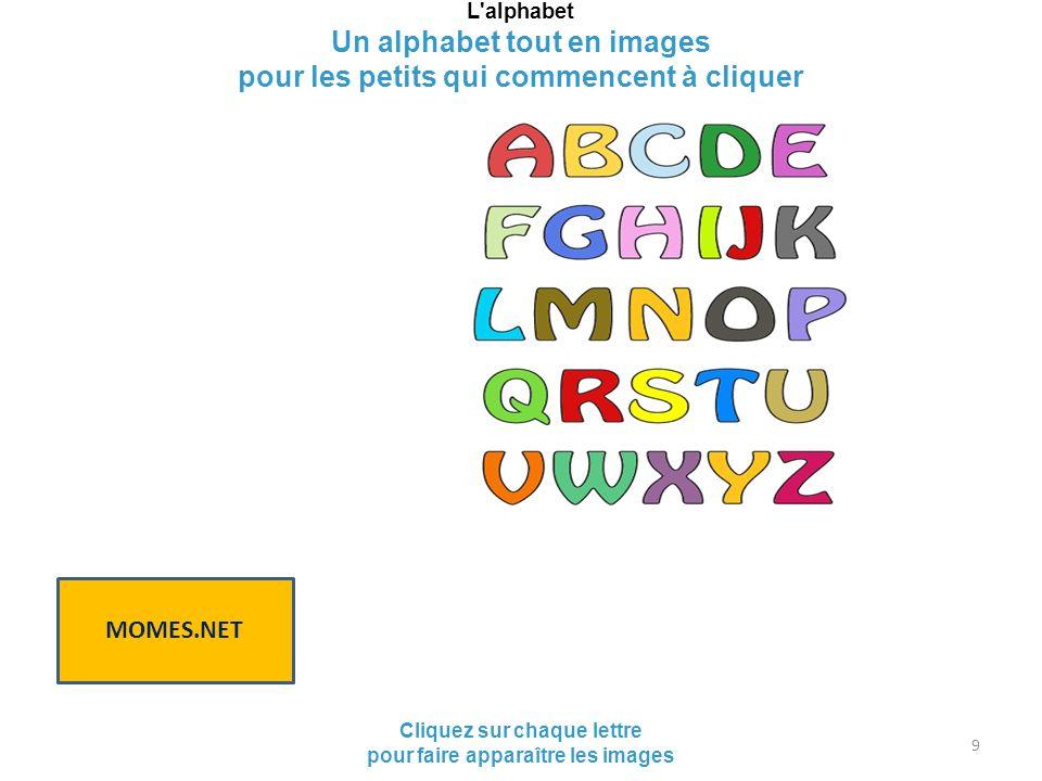 L'alphabet Un alphabet tout en images pour les petits qui commencent à cliquer Cliquez sur chaque lettre pour faire apparaître les images MOMES.NET 9