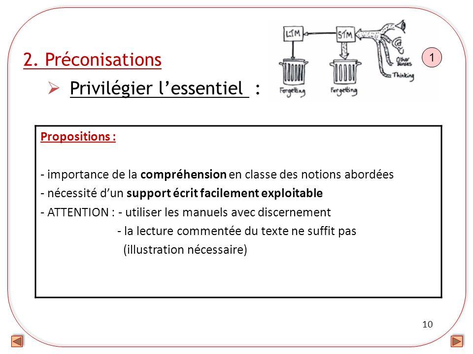 10 2. Préconisations Privilégier lessentiel : Propositions : - importance de la compréhension en classe des notions abordées - nécessité dun support é