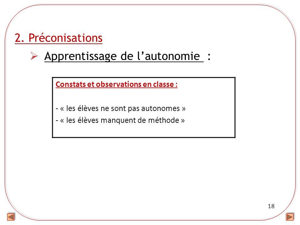18 2. Préconisations Apprentissage de lautonomie : Constats et observations en classe : - « les élèves ne sont pas autonomes » - « les élèves manquent