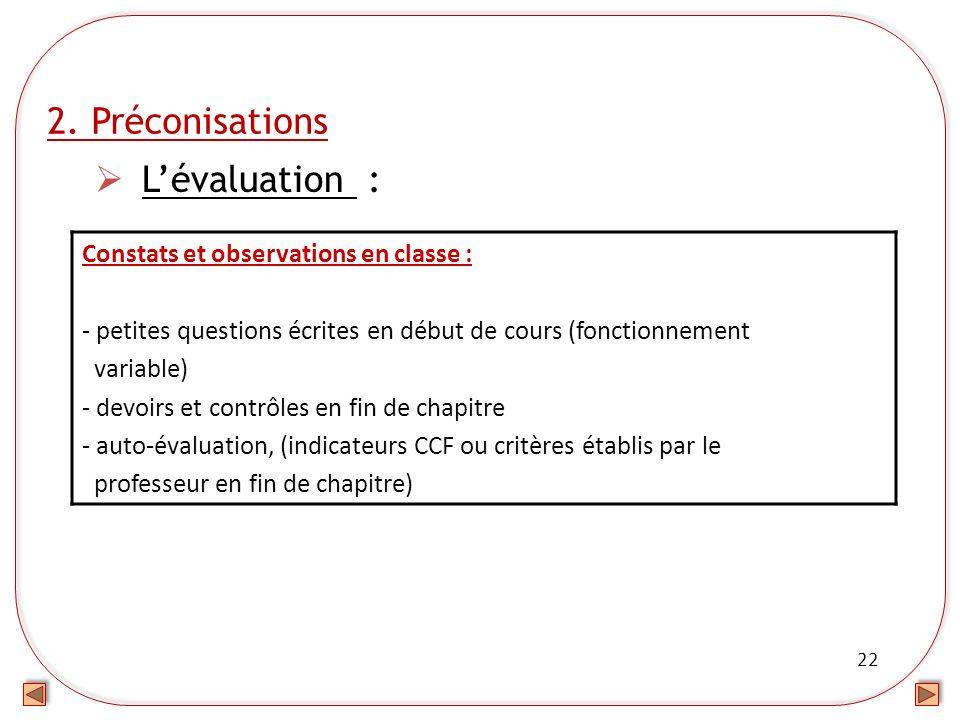 22 2. Préconisations Lévaluation : Constats et observations en classe : - petites questions écrites en début de cours (fonctionnement variable) - devo