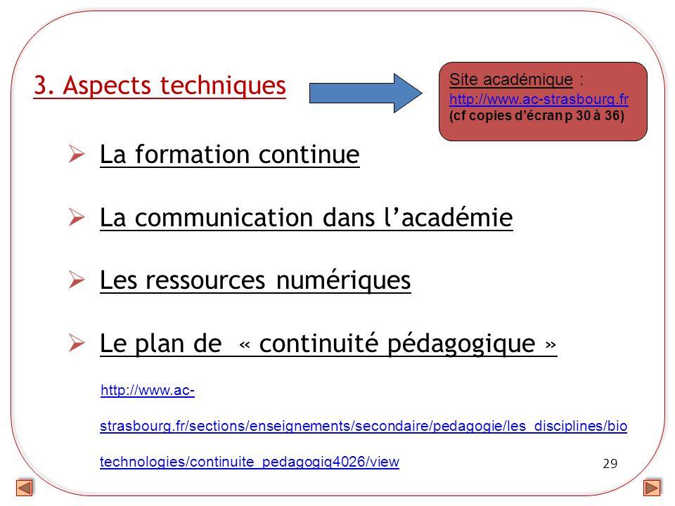 29 3. Aspects techniques La formation continue La communication dans lacadémie Les ressources numériques Le plan de « continuité pédagogique » http://