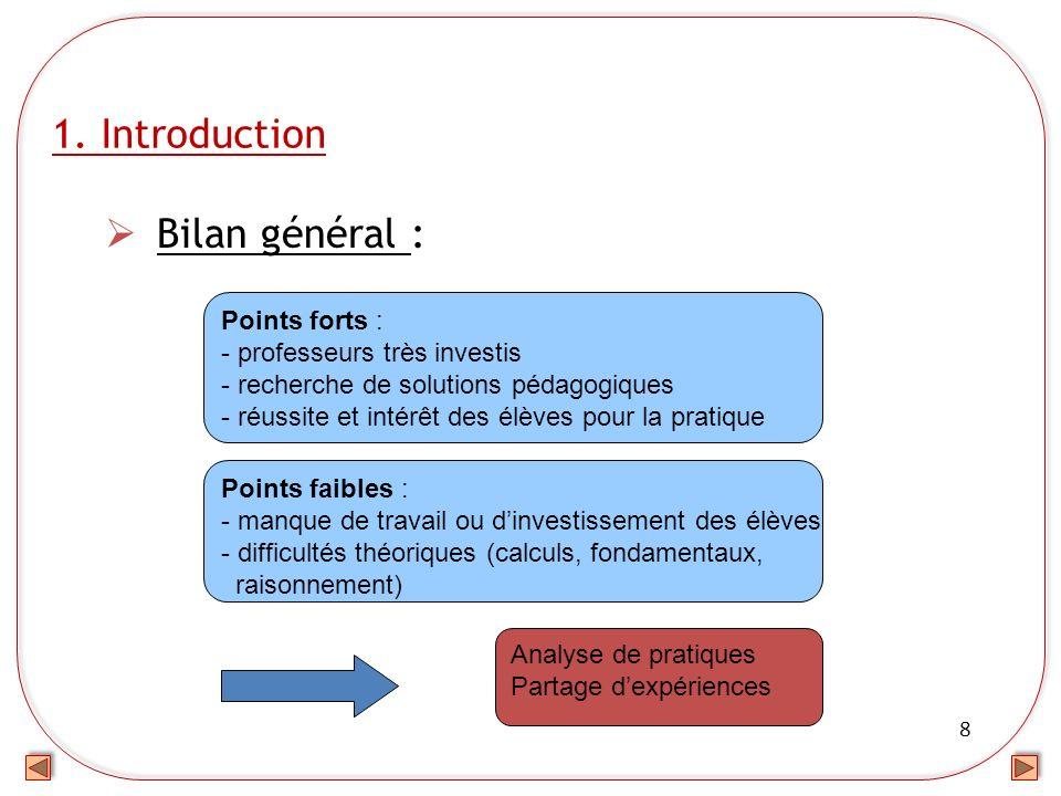 8 1. Introduction Bilan général : Points forts : - professeurs très investis - recherche de solutions pédagogiques - réussite et intérêt des élèves po