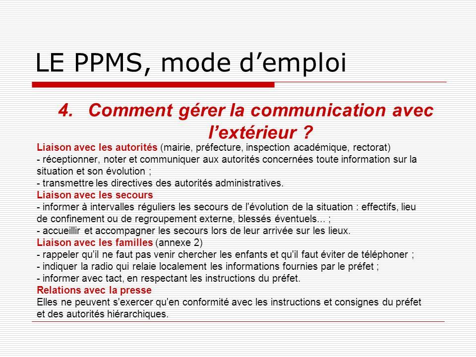 LE PPMS, mode demploi 4.Comment gérer la communication avec lextérieur ? Liaison avec les autorités (mairie, préfecture, inspection académique, rector