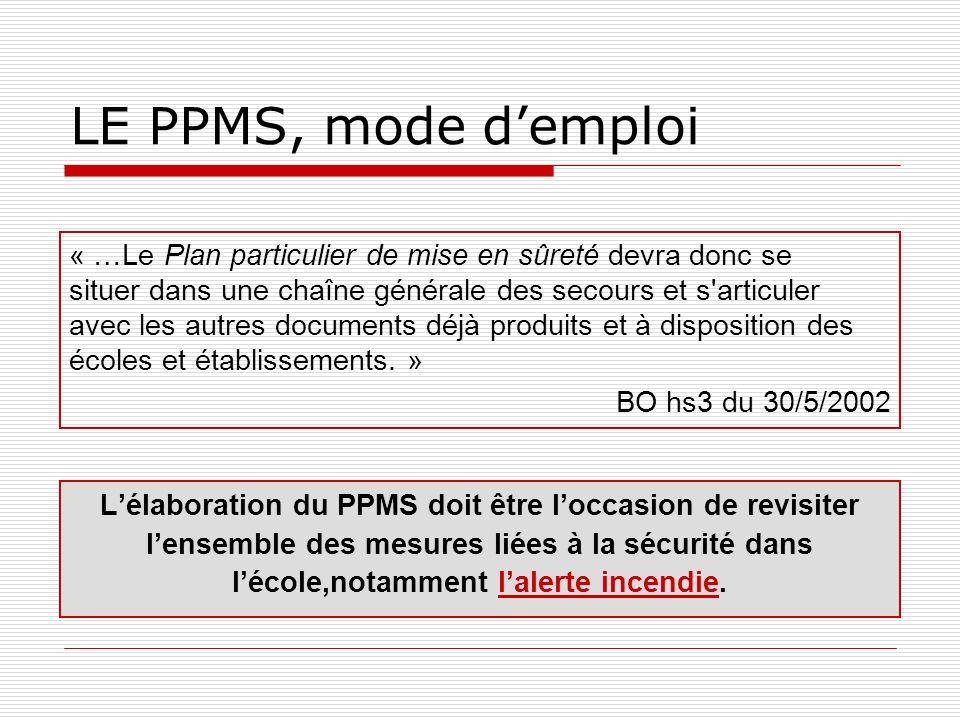 LE PPMS, mode demploi « …Le Plan particulier de mise en sûreté devra donc se situer dans une chaîne générale des secours et s'articuler avec les autre