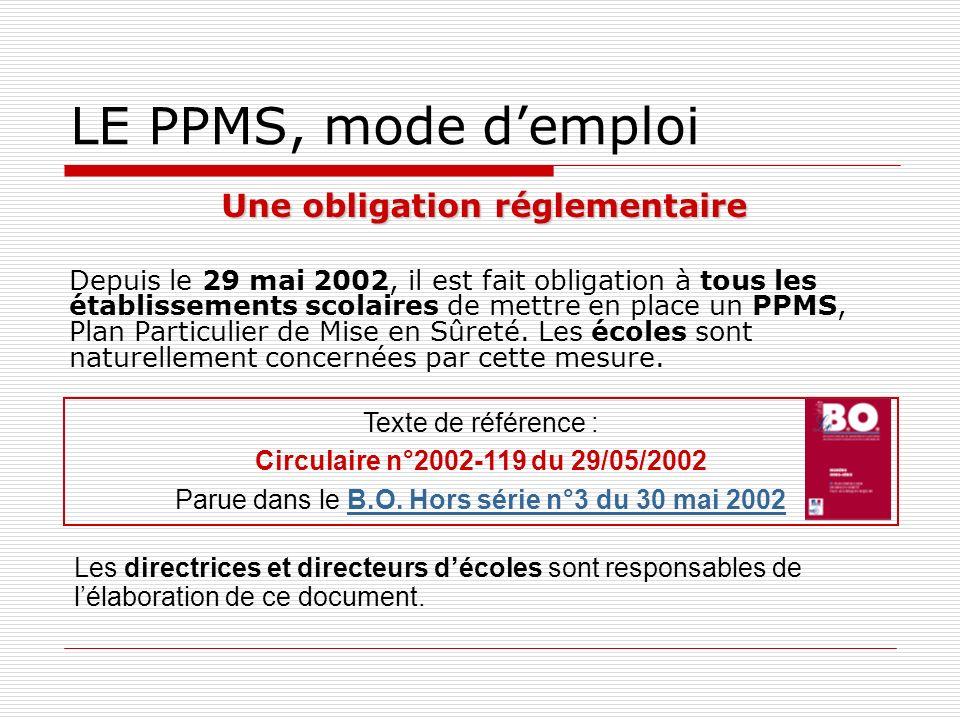 LE PPMS, mode demploi Une obligation réglementaire Depuis le 29 mai 2002, il est fait obligation à tous les établissements scolaires de mettre en plac