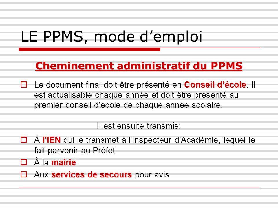 LE PPMS, mode demploi Cheminement administratif du PPMS Conseil décole Le document final doit être présenté en Conseil décole. Il est actualisable cha