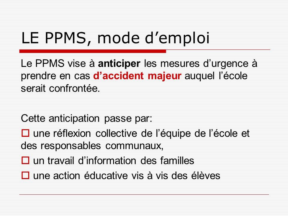 LE PPMS, mode demploi Le PPMS vise à anticiper les mesures durgence à prendre en cas daccident majeur auquel lécole serait confrontée. Cette anticipat