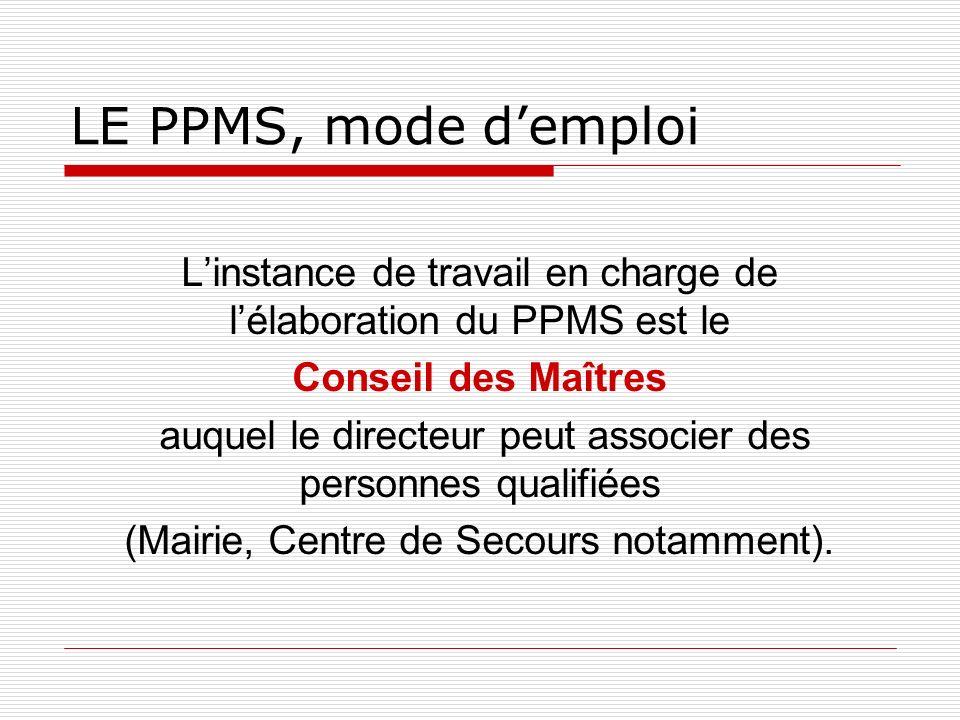 LE PPMS, mode demploi Linstance de travail en charge de lélaboration du PPMS est le Conseil des Maîtres auquel le directeur peut associer des personne