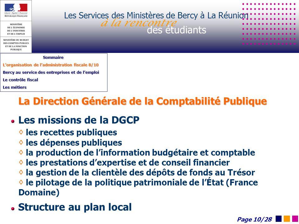 Les Services des Ministères de Bercy à La Réunion à la rencontre des étudiants Sommaire Lorganisation de ladministration fiscale 8/10 Bercy au service
