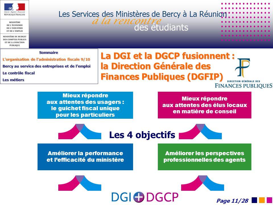 Les Services des Ministères de Bercy à La Réunion à la rencontre des étudiants Sommaire Lorganisation de ladministration fiscale 9/10 Bercy au service