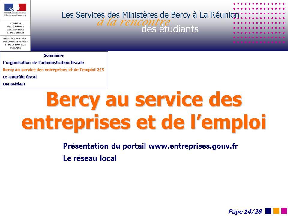 Bercy au service des entreprises et de lemploi Les Services des Ministères de Bercy à La Réunion à la rencontre des étudiants Sommaire Lorganisation d