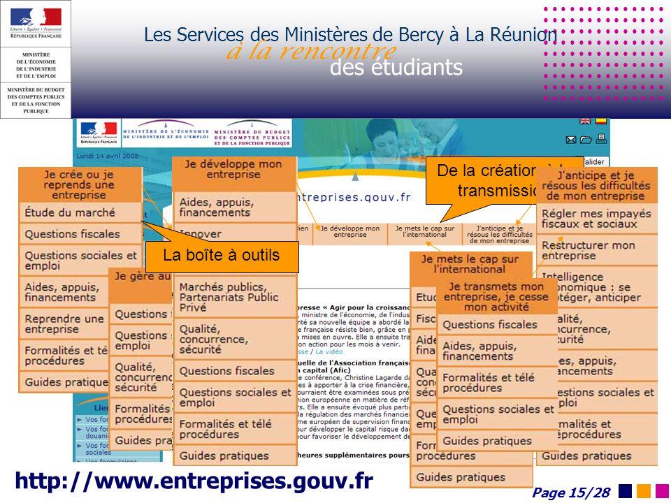 Les Services des Ministères de Bercy à La Réunion à la rencontre des étudiants http://www.entreprises.gouv.fr De la création à la transmission La boît