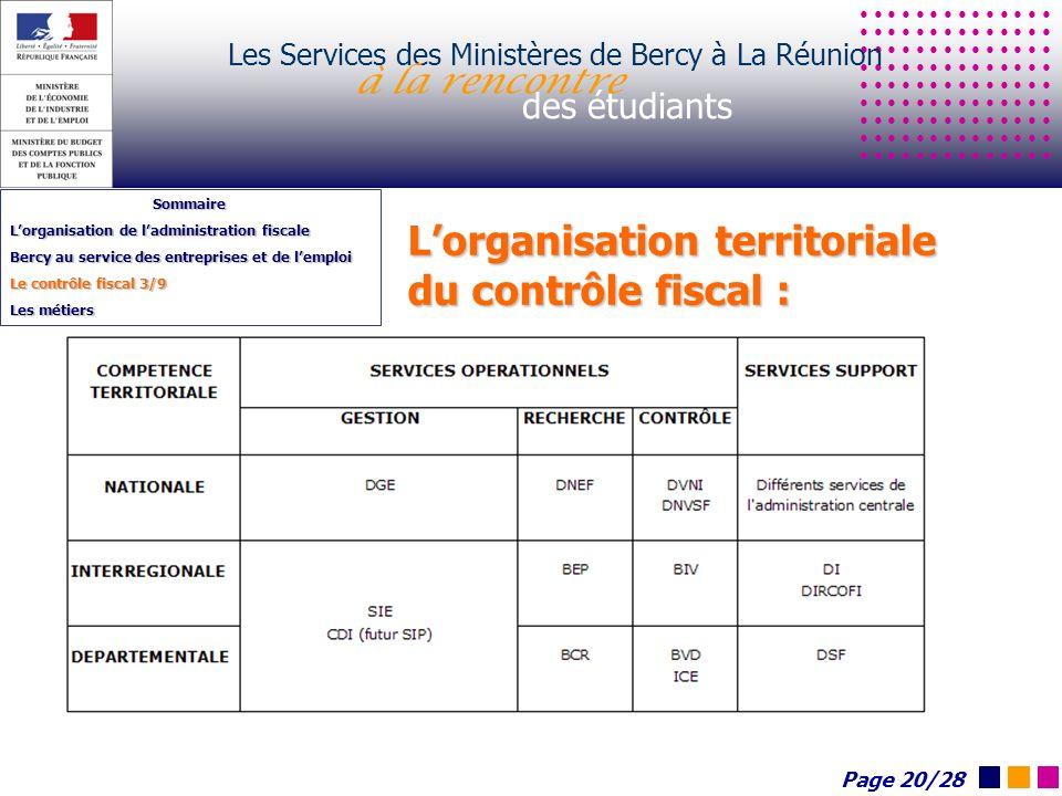 Lorganisation territoriale du contrôle fiscal : Les Services des Ministères de Bercy à La Réunion à la rencontre des étudiants Sommaire Lorganisation