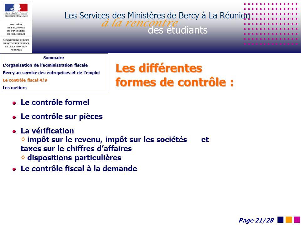 Les différentes formes de contrôle : Les Services des Ministères de Bercy à La Réunion à la rencontre des étudiants Sommaire Lorganisation de ladminis
