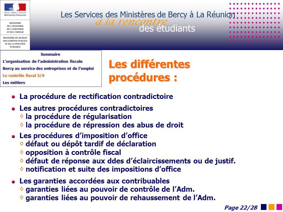 Les différentes procédures : Les Services des Ministères de Bercy à La Réunion à la rencontre des étudiants Sommaire Lorganisation de ladministration