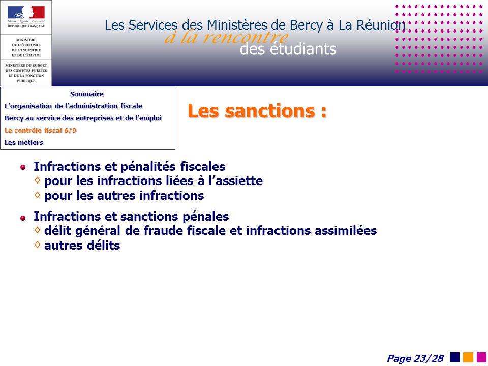 Les sanctions : Les Services des Ministères de Bercy à La Réunion à la rencontre des étudiants Sommaire Lorganisation de ladministration fiscale Bercy
