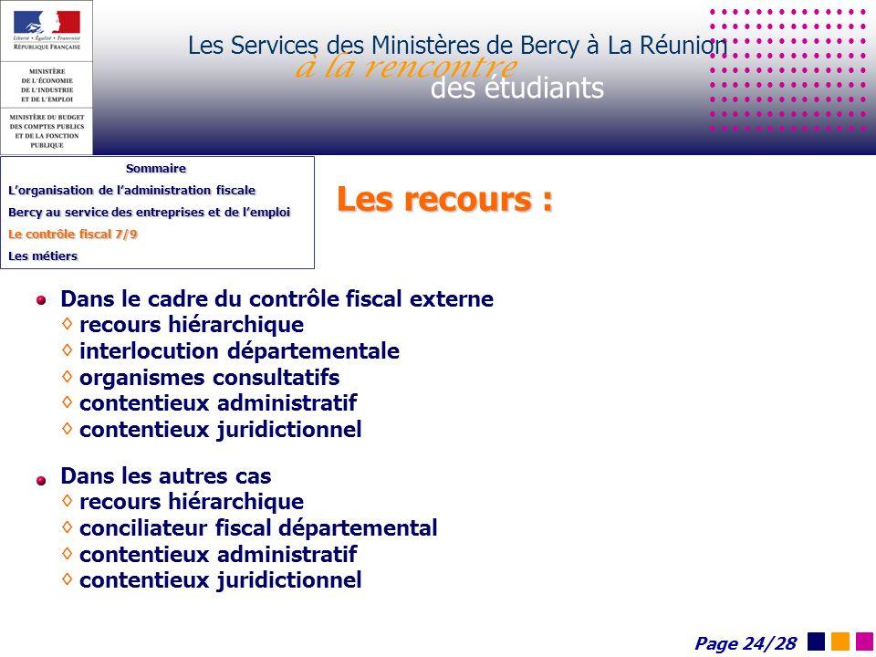 Les recours : Les Services des Ministères de Bercy à La Réunion à la rencontre des étudiants Sommaire Lorganisation de ladministration fiscale Bercy a