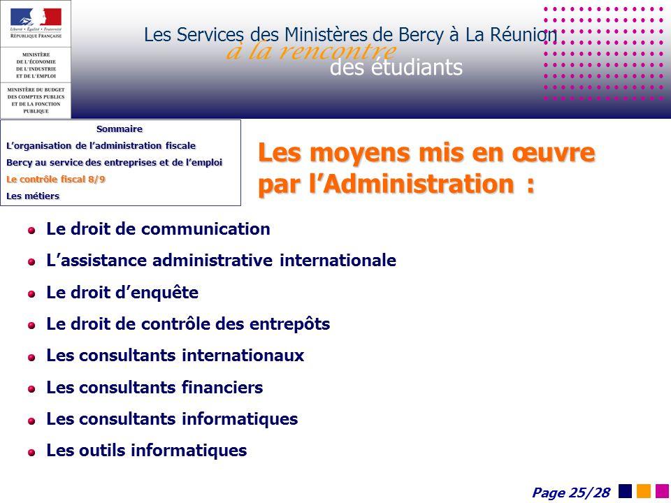 Les moyens mis en œuvre par lAdministration : Les Services des Ministères de Bercy à La Réunion à la rencontre des étudiants Sommaire Lorganisation de
