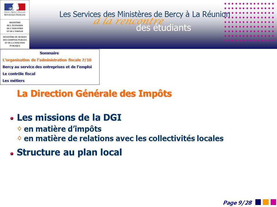 Les Services des Ministères de Bercy à La Réunion à la rencontre des étudiants Sommaire Lorganisation de ladministration fiscale 7/10 Bercy au service