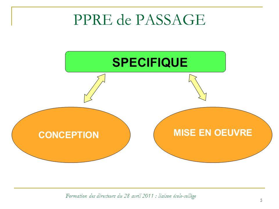 5 PPRE de PASSAGE CONCEPTION SPECIFIQUE MISE EN OEUVRE Formation des directeurs du 28 avril 2011 : liaison école-collège
