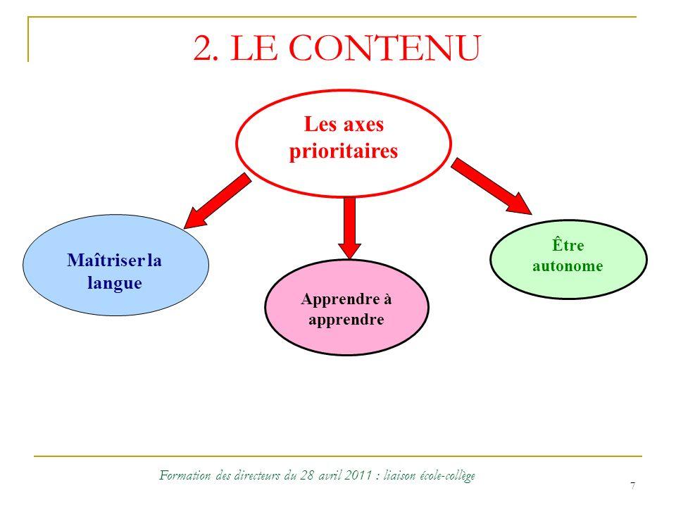 7 2. LE CONTENU Les axes prioritaires Maîtriser la langue Apprendre à apprendre Être autonome Formation des directeurs du 28 avril 2011 : liaison écol