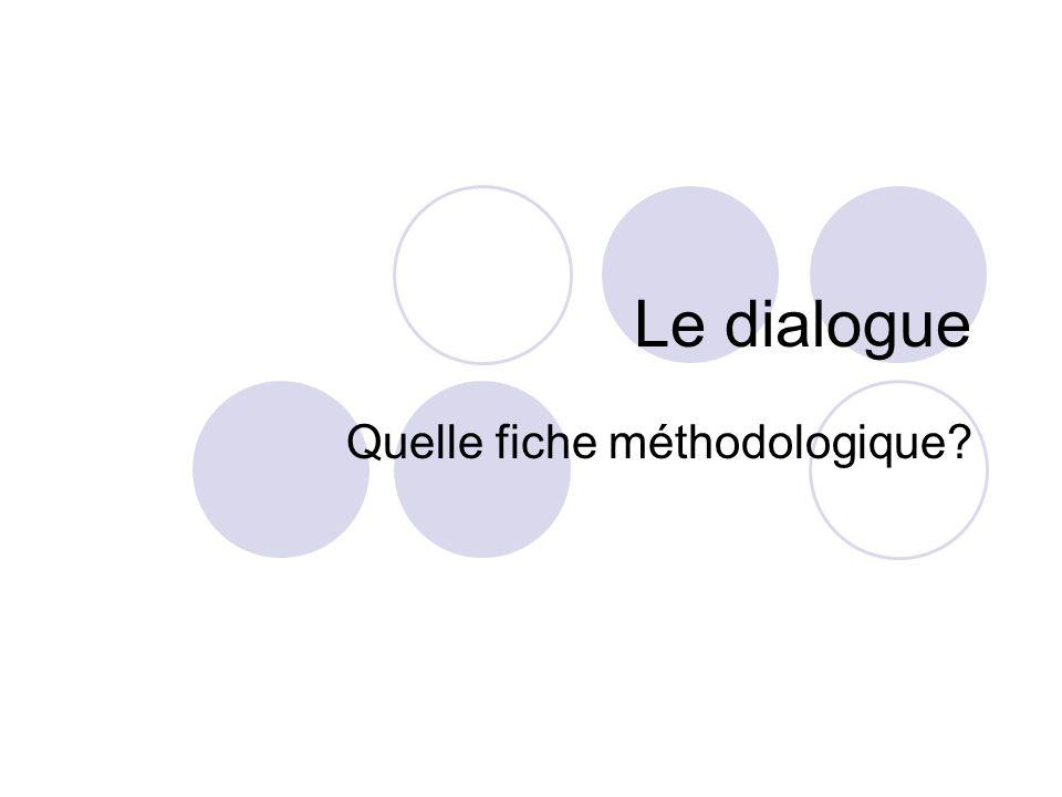 Le dialogue Quelle fiche méthodologique?