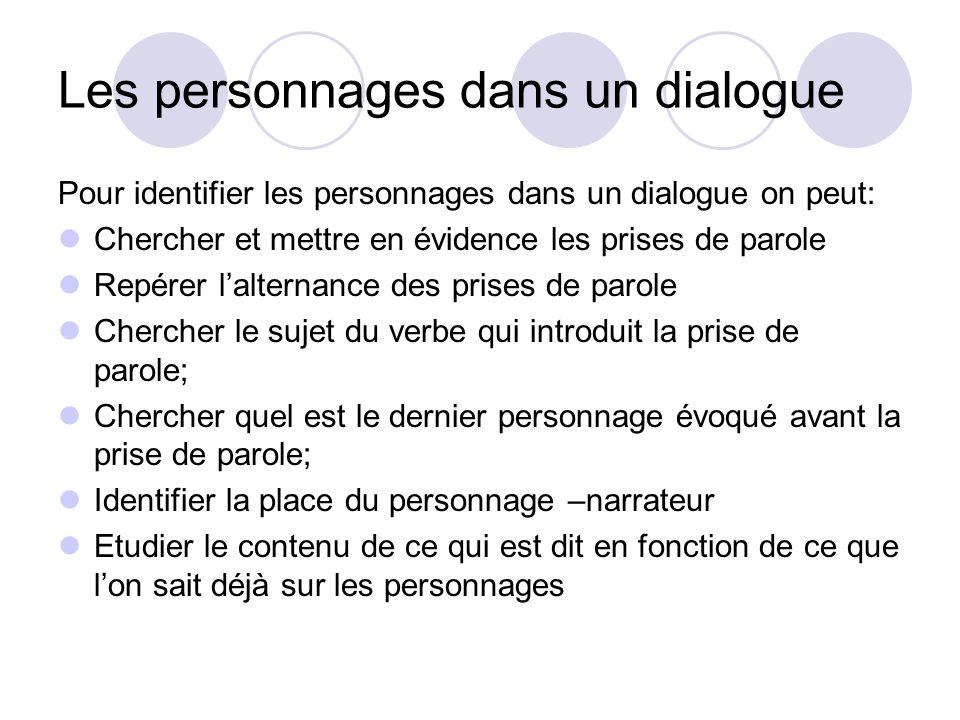 Les personnages dans un dialogue Pour identifier les personnages dans un dialogue on peut: Chercher et mettre en évidence les prises de parole Repérer