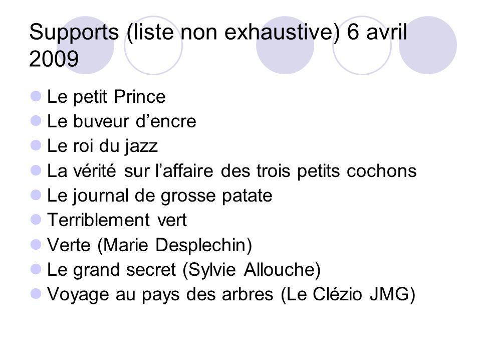 Supports (liste non exhaustive) 6 avril 2009 Le petit Prince Le buveur dencre Le roi du jazz La vérité sur laffaire des trois petits cochons Le journa