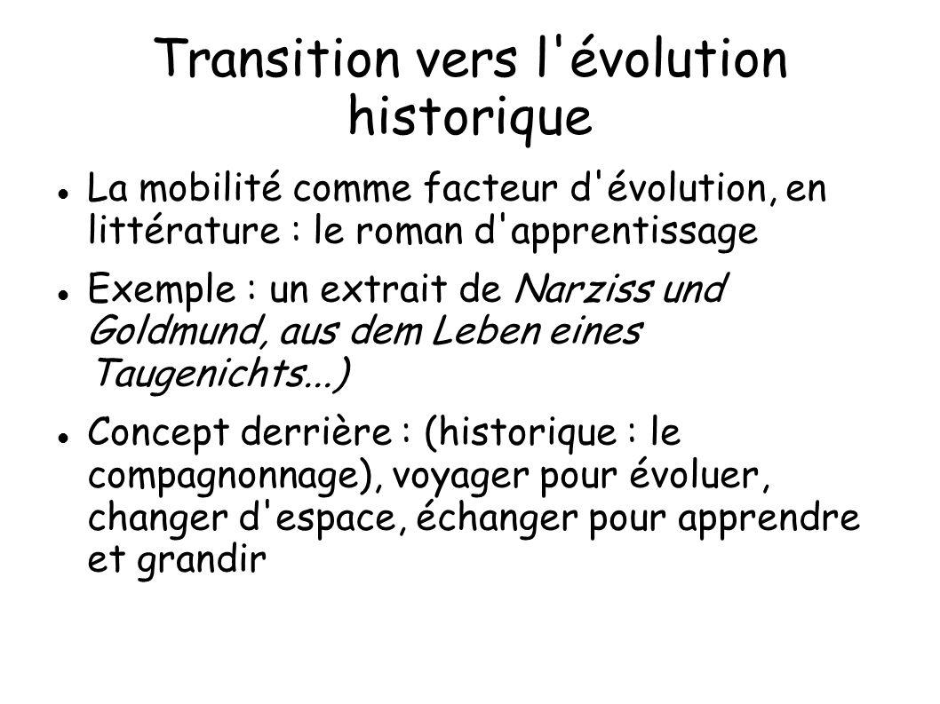 Transition vers l'évolution historique La mobilité comme facteur d'évolution, en littérature : le roman d'apprentissage Exemple : un extrait de Narzis