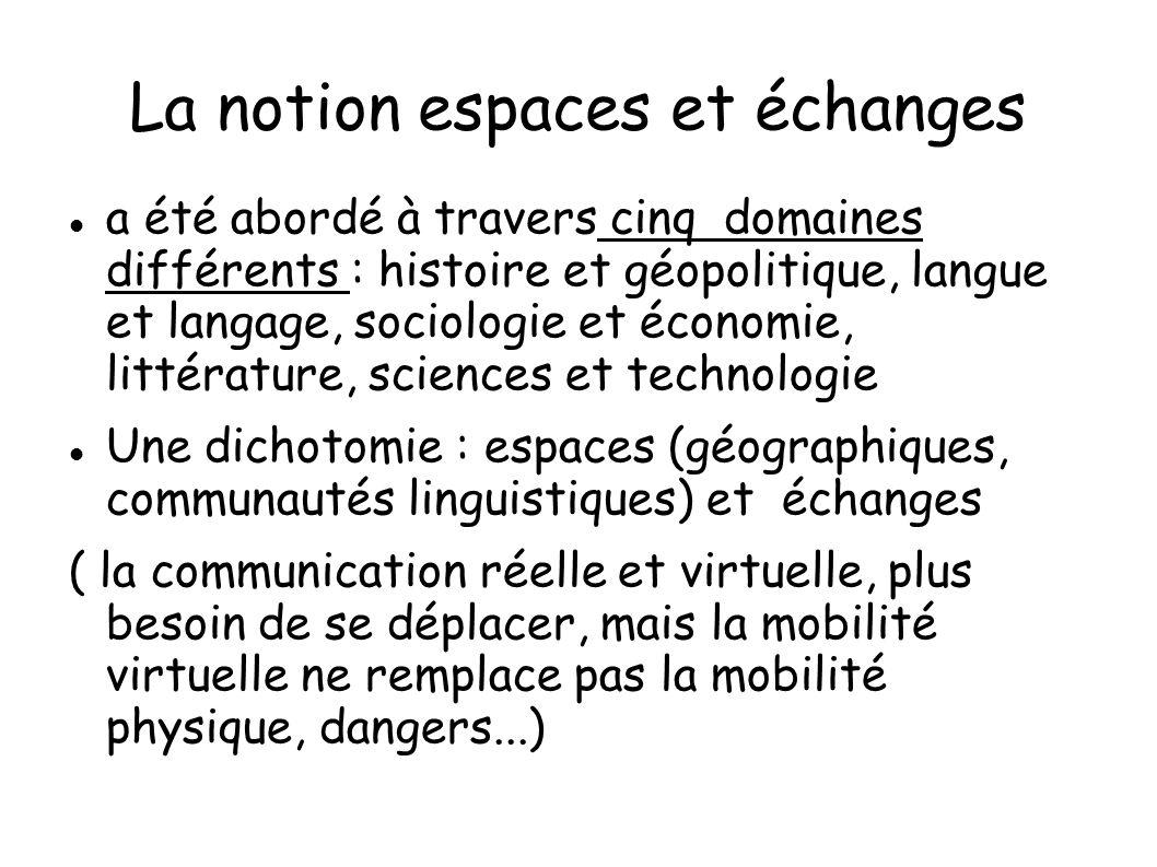 La notion espaces et échanges a été abordé à travers cinq domaines différents : histoire et géopolitique, langue et langage, sociologie et économie, l