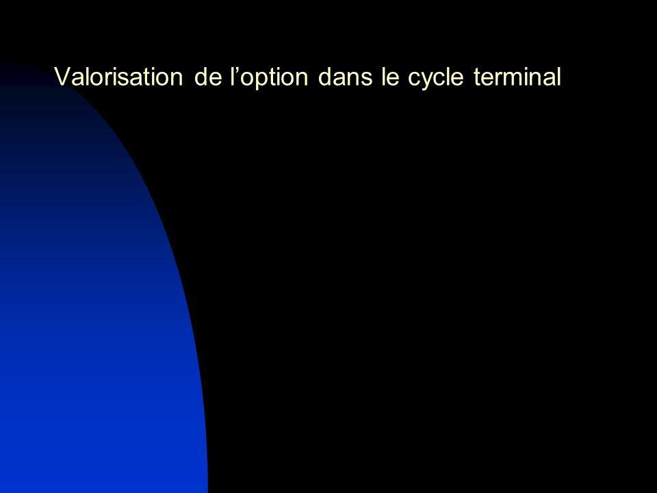 Valorisation de loption dans le cycle terminal
