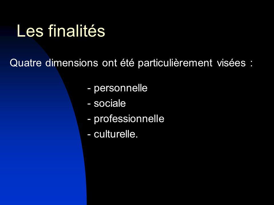 Les finalités Quatre dimensions ont été particulièrement visées : - personnelle - sociale - professionnelle - culturelle.