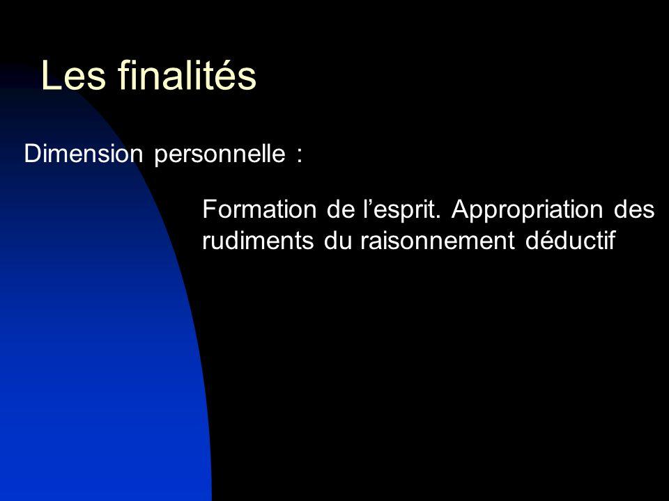 Dimension personnelle : Formation de lesprit. Appropriation des rudiments du raisonnement déductif Les finalités