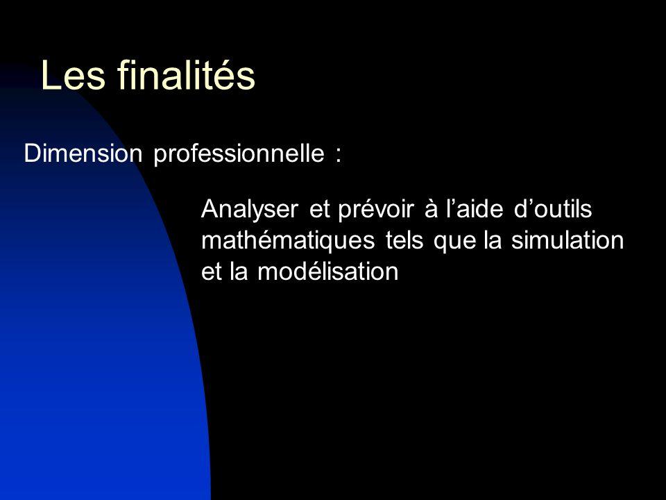Dimension professionnelle : Analyser et prévoir à laide doutils mathématiques tels que la simulation et la modélisation Les finalités