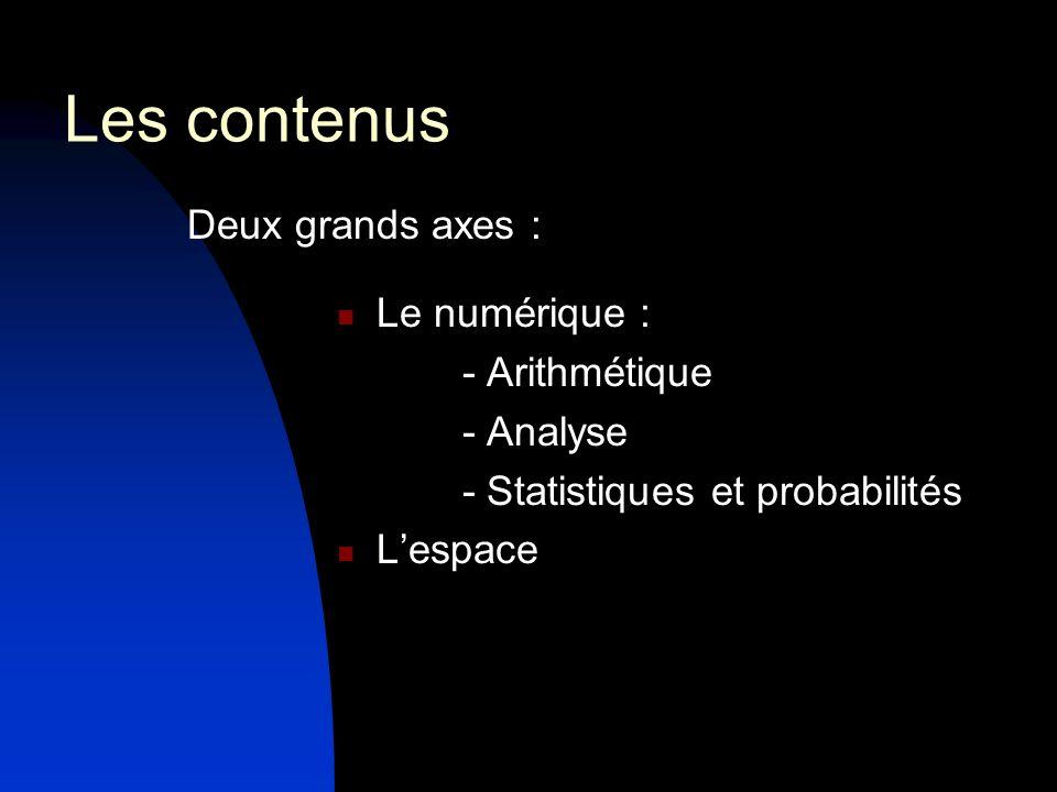 Deux domaines transversaux : Logique Algorithmique Ces notions ne doivent pas faire lobjet dun exposé théorique isolé.