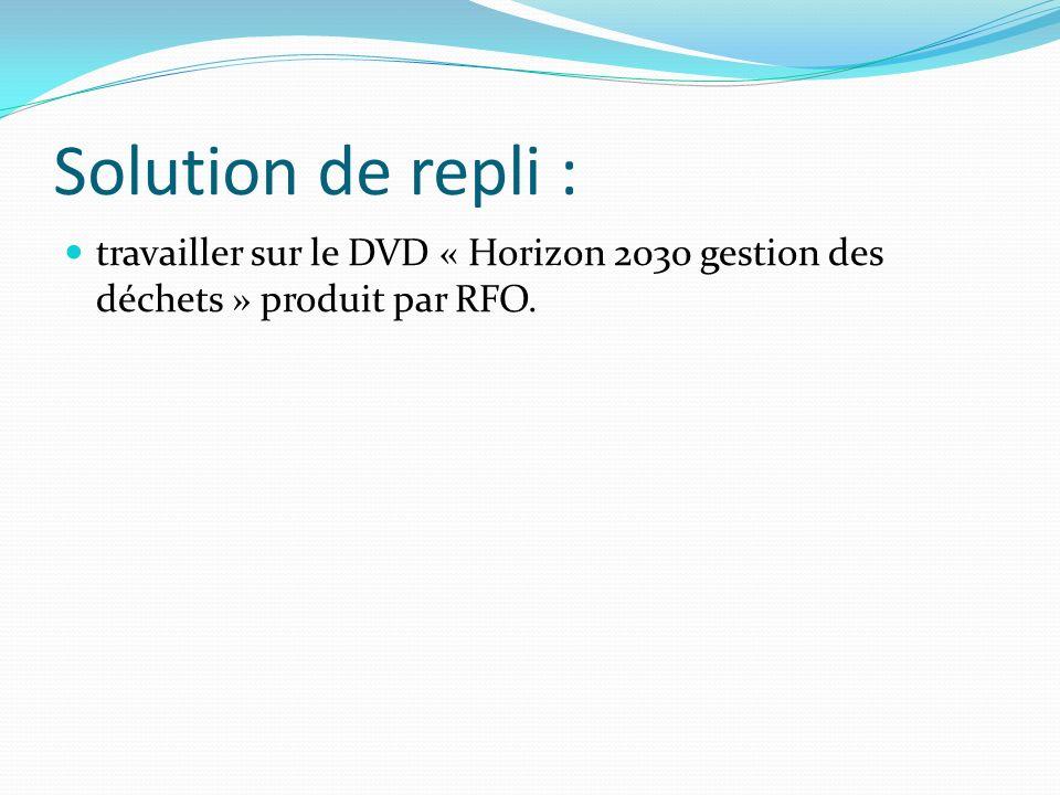 Solution de repli : travailler sur le DVD « Horizon 2030 gestion des déchets » produit par RFO.