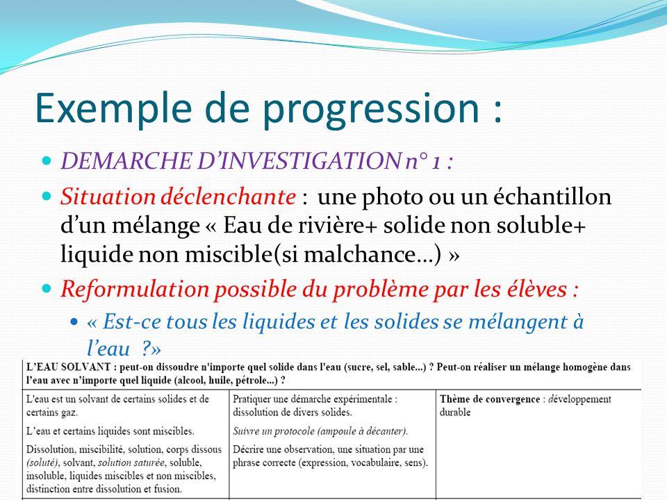 Exemple de progression : DEMARCHE DINVESTIGATION n° 1 : Situation déclenchante : une photo ou un échantillon dun mélange « Eau de rivière+ solide non