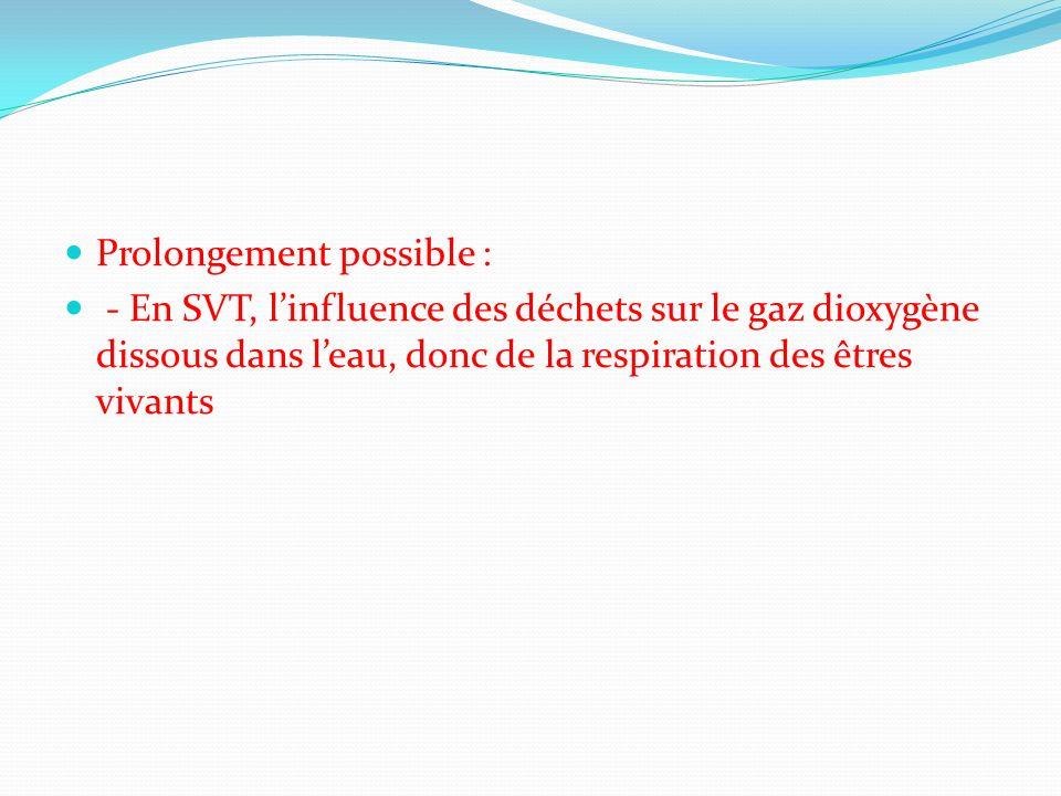 Prolongement possible : - En SVT, linfluence des déchets sur le gaz dioxygène dissous dans leau, donc de la respiration des êtres vivants