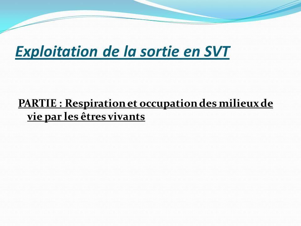 Exploitation de la sortie en SVT PARTIE : Respiration et occupation des milieux de vie par les êtres vivants